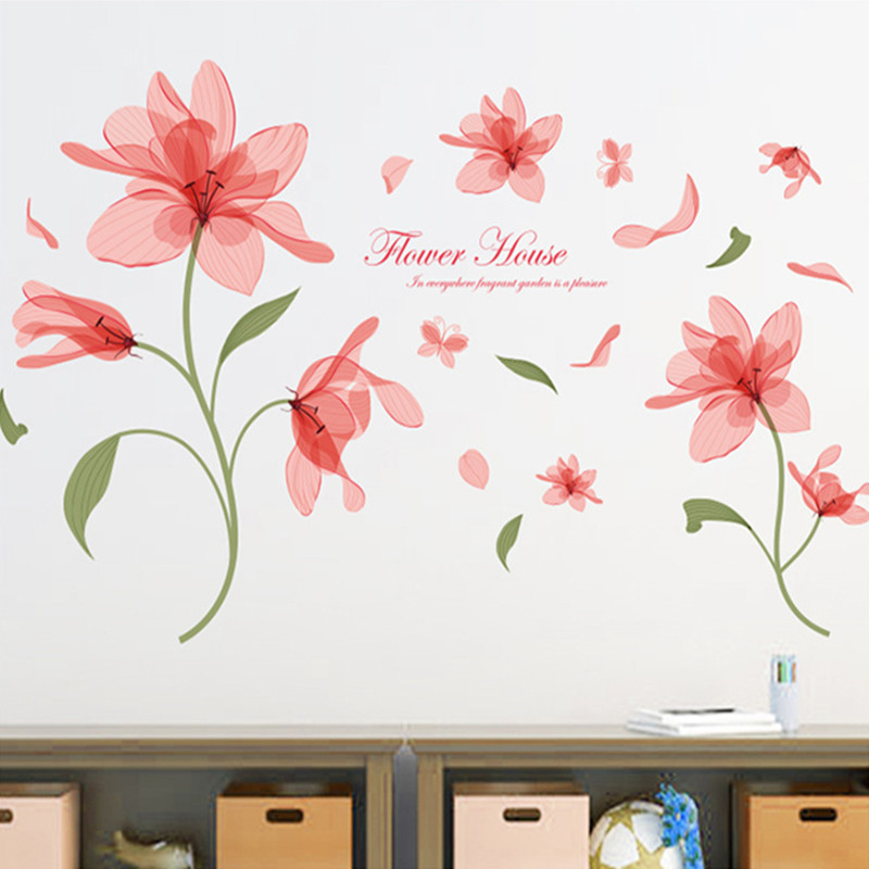 Pink ethereal flower translucent wall sticker home romantic warm petal bouquet removable horticulture nursery decals mural vinyl