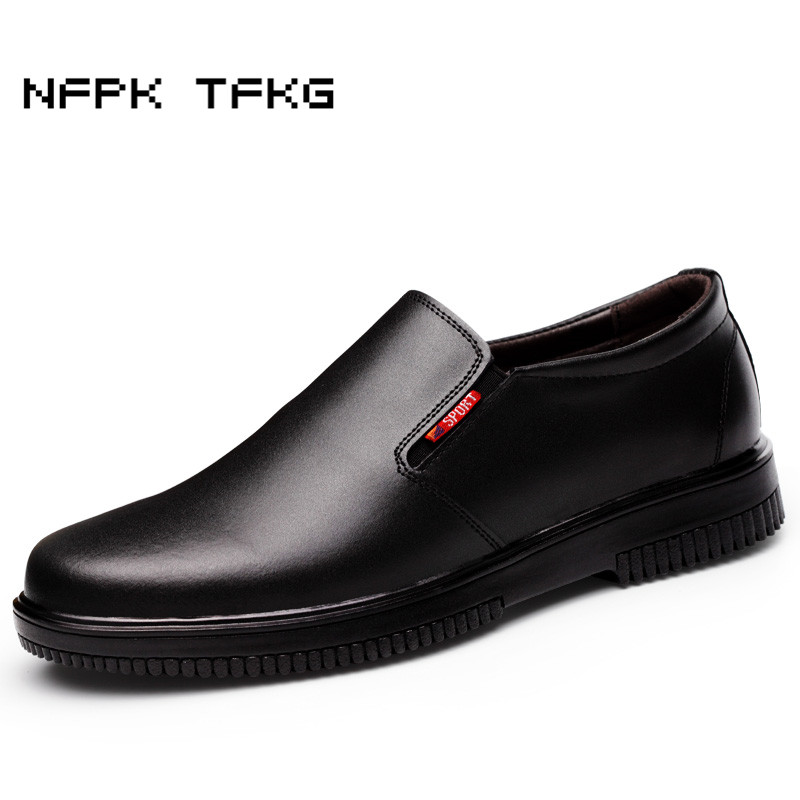 big size men's casual smooth genuine leather chef work shoes slip on waterproof oil resistant non-slip hotel kitchen cook shoe soft and comfortable work shoe covers slip resistant mens safety footwear used in restaurant sea food shop kitchen chef shoes