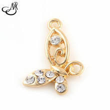 50pcs/lot Gold/ Silver Plated Crystal Butterfly Dangling Bracelet Charms DIY Jewelry Making FA424