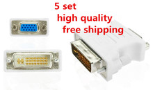 High Quality 5 Pcs DVI To VGA DVI-I 24+5 Male to VGA Female Video Converter Adapter Connector