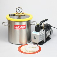 3.2 Gal (12.3L) Vacuum Chamber Kit with 2 stage 6 CFM 2.7L/s) 220V Vacuum Pump ,25cm*25cm Stainless Steel Degassing Chamber