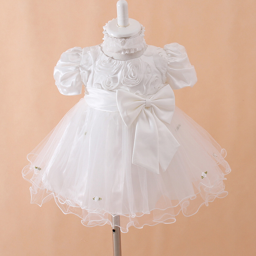 Newborn Formal Dresses Beige Puff Sleeve Baby Girl Christening Gowns