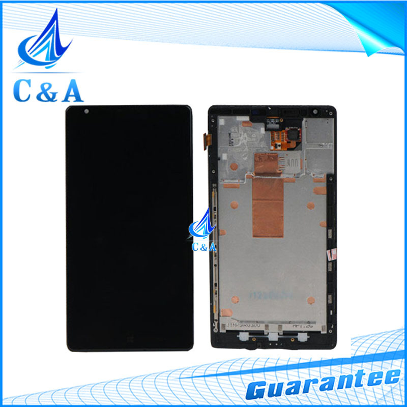 5 pcs DHL/EMS post tested replacement repair part for Nokia Lumia 1520 n1520 lcd display with touch screen +frame assembly