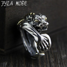 FYLA MODE S925 Sterling Silver Leopard Head Ring Wedding Jewelry Christmas Gift Women Jewelry Finger Rings 23.10MM 25G PBG048
