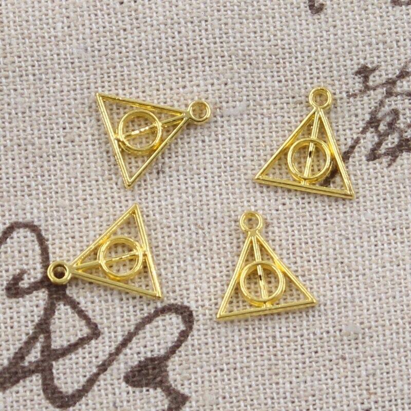 100pcs Charms Deathly Hallows 13x12mm Antique Pendant fit,Vintage Tibetan Bronze Silver color,DIY For Bracelet Necklace 3