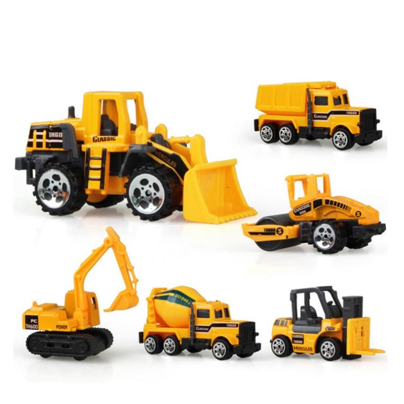 6PCS/Set Kids Engineering Car Toys Boy Girls Imitation Inertial Engineering Car Dump Roller Truck Mode Child Mini Excavator Toys