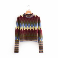 Sweater female 2018 autumn and winter new casual temperament diamond lattice long sleeve sweater elegant knit top