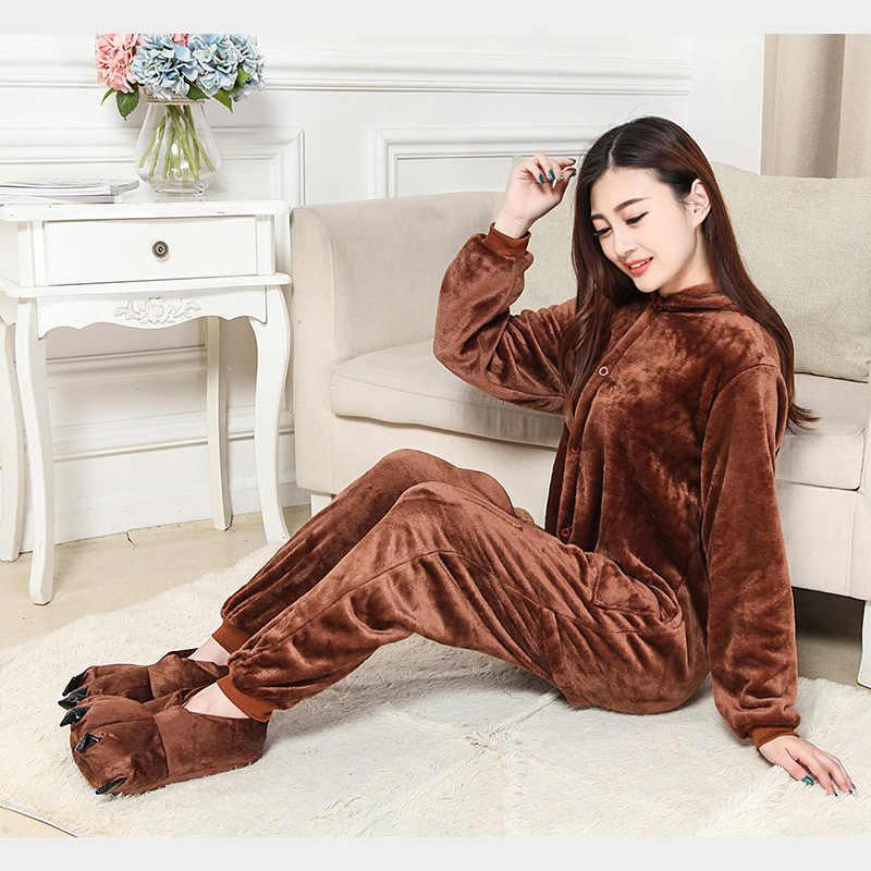 12ca02006e ... Kigurumi Brown Bear Onesie Slippers Women Men Adult Animal Costume  Cartoon Pajama Funny weFestival Party Fancy