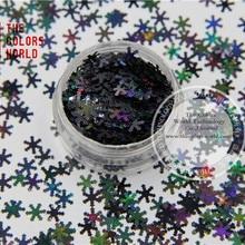 TCA1000 Блестки для ногтей Черный цвет блестки в форме снежинок 6,0 мм Размер углы для дизайна ногтей и DIY принадлежности
