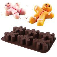 1 Pc Silicone Mold Gingerbread Man Fondant Cake Chocolate Sugarcraft Baking Mould DIY 26x16x3cm Cake Tools