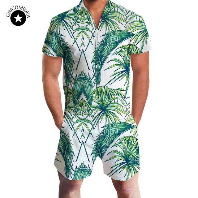 27a7d40e0dc9 2019 Fashion Romper Men Short Sleeve Male Casual 3d Printed Slim Fit  Jumpsuit Cool Hawaiian Shorts Shirts Trousers Overalls