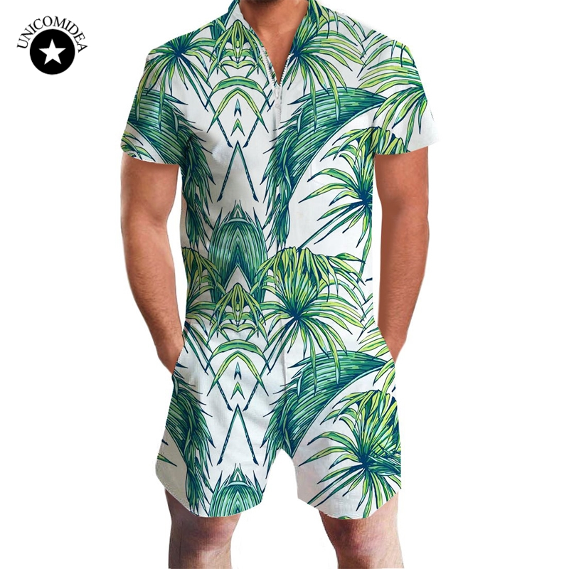 2020 Fashion Romper Men Short Sleeve Male Casual 3d Printed Slim Fit Jumpsuit Cool Hawaiian Shorts/Shirts Trousers Overalls