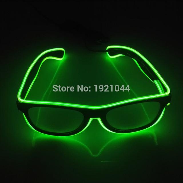 New arrival 100pcs EL Glasses EL Wire Fashion Neon LED Light Up Shutter Shaped Glasses Rave Festival Party Decorative Sunglasses