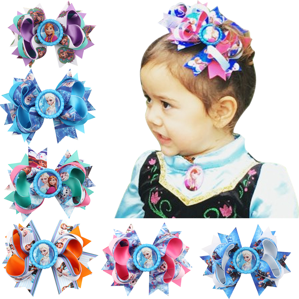 2017 Fashion Cartoon Hair Bows Hair Pins Princess Elsa Anna Ribbon With Alligator Clip Kids Hair Accessories Hair Clips HC039 10pcs snow white sofia hrief princess anna elsa hair accessories cute kids bb hair clips flower crown rim hair bows 5