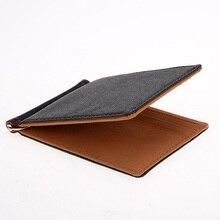 KUDIAN BEAR Leather Men Money Clip Wallet Solid Male Purses With Designer I Clip Cash Holder Card Cases– BID009 PM20