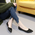 2017 Women Flats Pointed Toe Nubuck Leather Shallow Mouth Single Shoes In Autumn Casual Flat Low Shoes Ladies