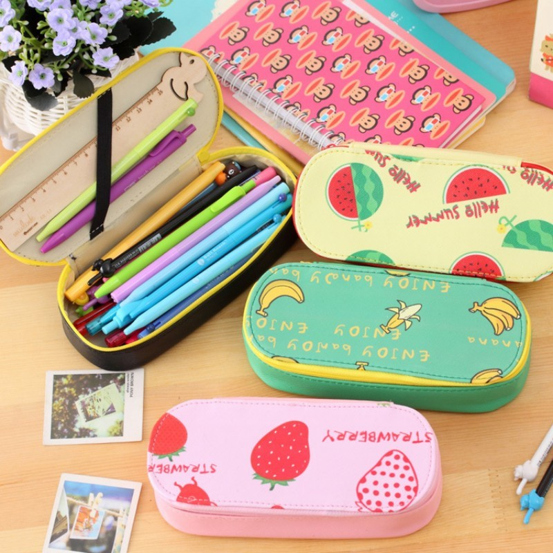 bd83cc2e8f Korean stationery novelty fruits pencil case for girls big capacity school  pencil pouch pen bag kids gift office school supply
