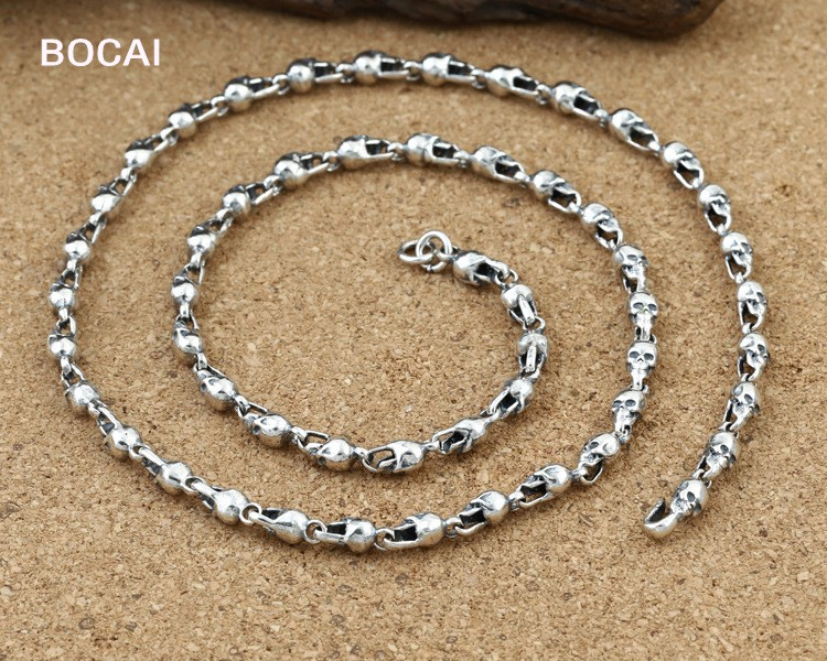 New Arrival Skull with silver chain 100% 925 sterling silver necklace pendant for women and men fine jewelry Hot Sale