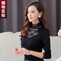 2015 New Autumn Women Shirts Full Sleeve Patchwork Mesh Lace Tissue Embroidered Blouse Shirt Black 870