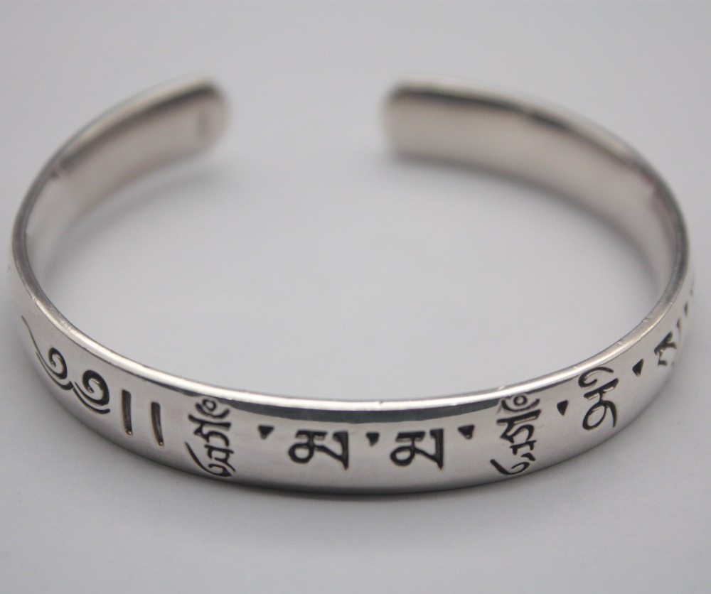 Classic Pure S925 Silver Bangle Woman Mans Sutra Buddhist Open 55-58mm Bangle Fashion Friend Gift Hot Sale Classic Pure S925 Silver Bangle Woman Mans Sutra Buddhist Open 55-58mm Bangle Fashion Friend Gift Hot Sale