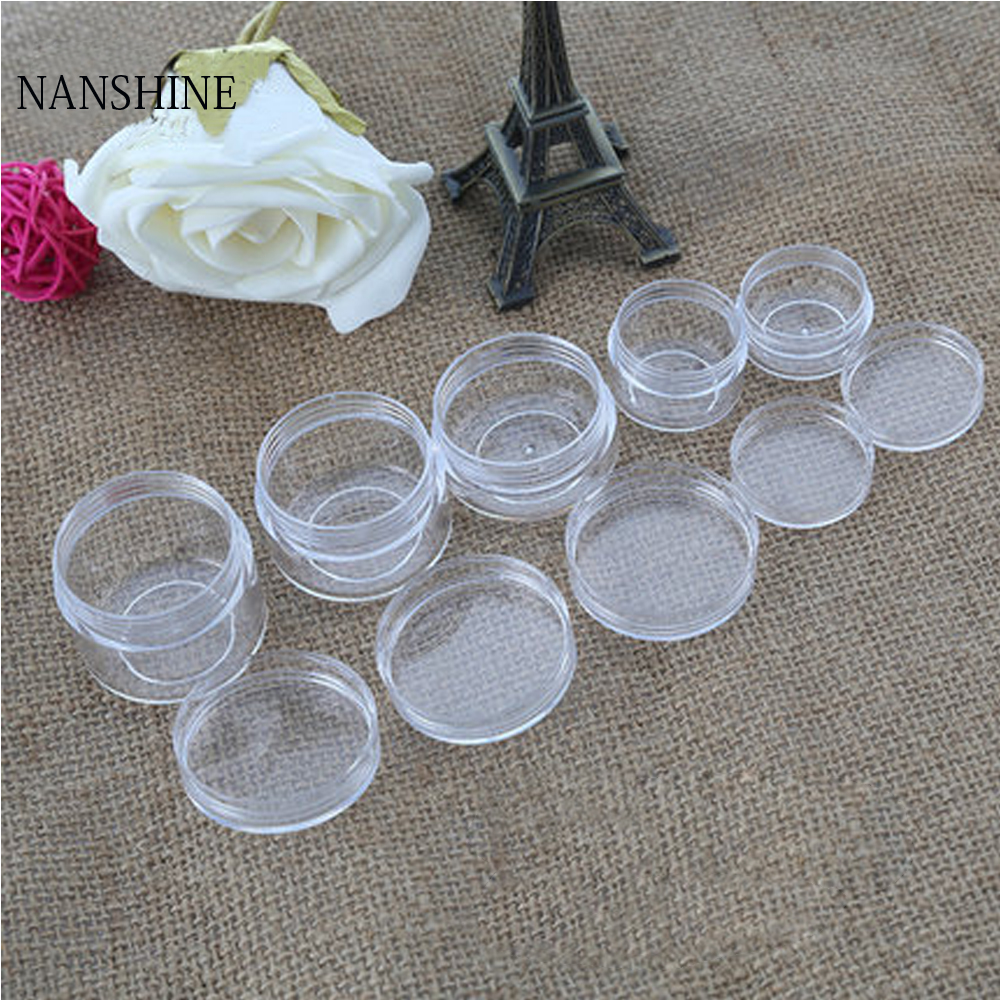 100Pcs 2g/3g/5g/10g/15g/20g Plastic Cosmetics Jar Box Makeup Cream Nail Art Bead Storage Pot Container Round Bottle Clear Case