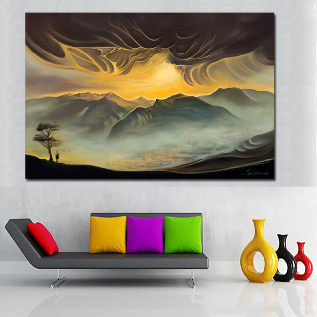 Us 4 61 48 Off Aliexpress Com Buy Posters And Prints Wall Art Canvas Painting Mountains Landscape Painting Wall Print On Canvas For Living Room