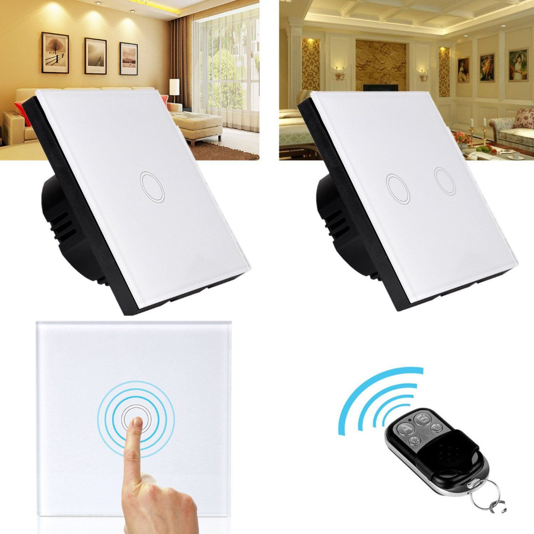 Mayitr 1/2 Gang Touch Light Switch Remote Control Crystal Glass Wall Switch+LED transformer Switch for home 2017 free shipping smart wall switch crystal glass panel switch us 2 gang remote control touch switch wall light switch for led