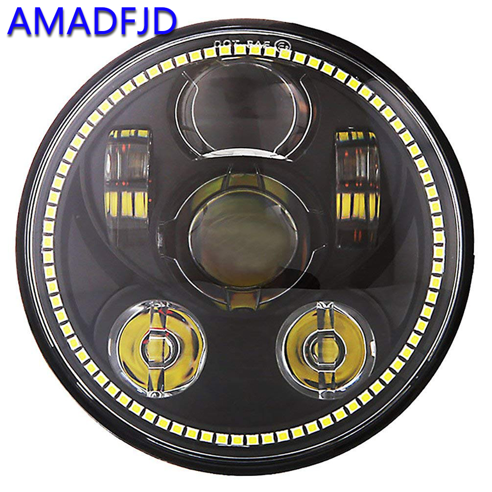 AMADFJD 5.85inch H4 H13 Led Motorcycle Headlight For Harley Motorcycle Projector Lamp Daymaker For Sportster 1200 883 7 led headlight for harley davidson motorcycle projector daymaker led bulb projector h4 h13 motorcycle headlight