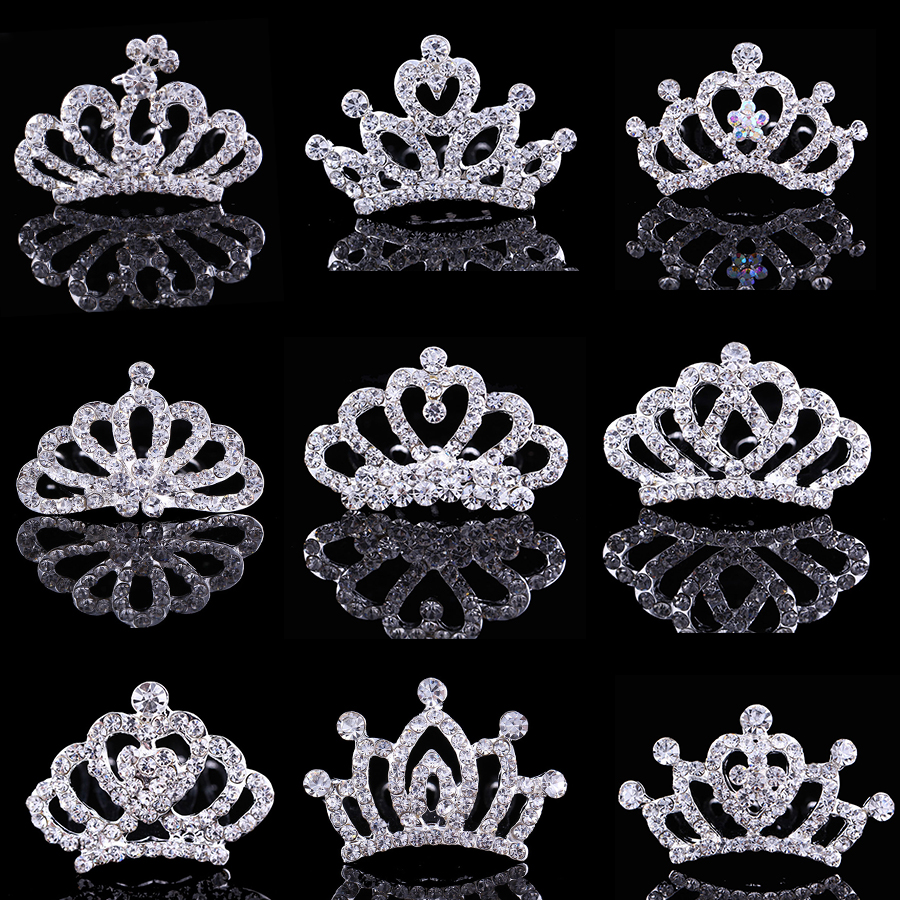 Children Tiaras and Crowns Small Kids Girls Rhinestone Crystal Crown Heart Princess Party Accessiories Hair Jewelry Ornaments