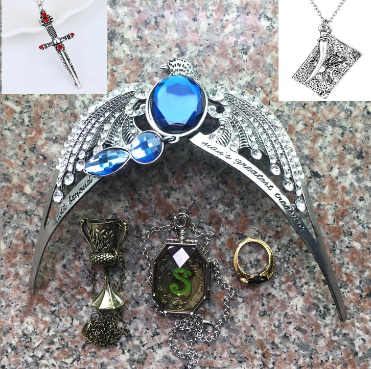 Voldemort Horcrux And Bane 6pcs Set Gryffindor Sword Gaunt Rings Slytherin Locket Hufflepuff Goblet Ravenclaw Diadem Tom;s Diary