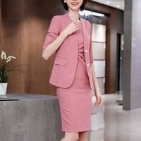 Suit Woman Dress Suits Lady Suit with Dress 3/4 Sleeve Blazer+Short Sleeve Ruffle Dress Office Wear for Women 88 6908 2902