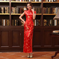 Bride Wedding Qipao Red Long Cheongsam Dress Chinese Traditional Dress Women Vestido Curto Vintage Oriental Dresses Qi Pao QL