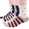 Rioriva 5 par/lote moda calcetines de algodón de los hombres de la bandera americana estrellas y rayas ee.uu. old glory crew casual 6-10 hot 2017