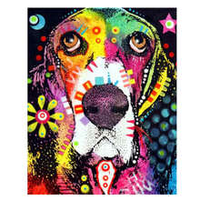 Hand Painted Canvas Oil Paintings,Paint By Number Kits,Animal Colorful Dog Painting Coloring By Numbers yhhp hand painted animal canvas oil painting hair donkey