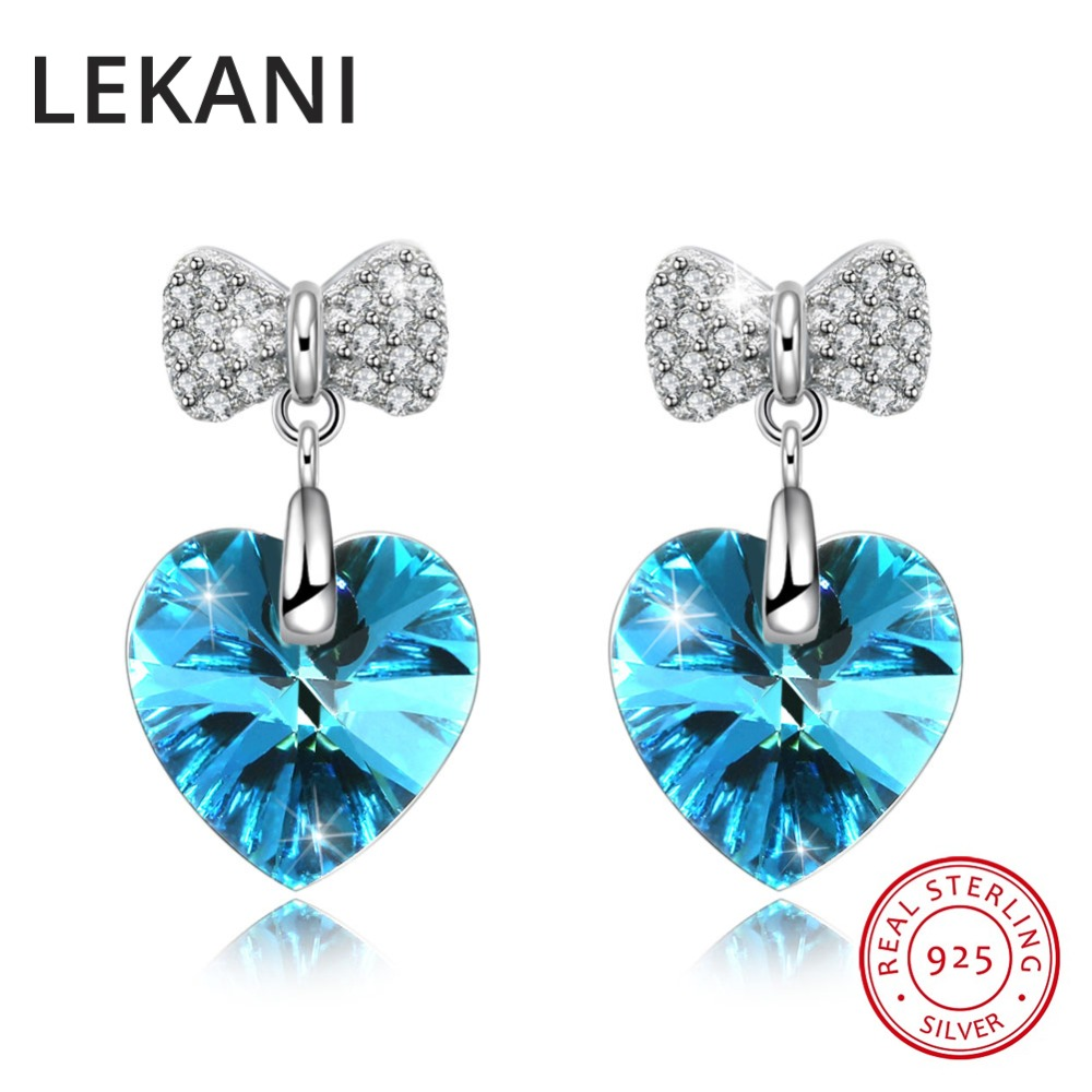 LEKANI Crystals From SWAROVSKI Heart Drop Earrings Cute Bowknot Piercing For Women Wedding Girls Gifts S925 Silver Fine Jewelry ...