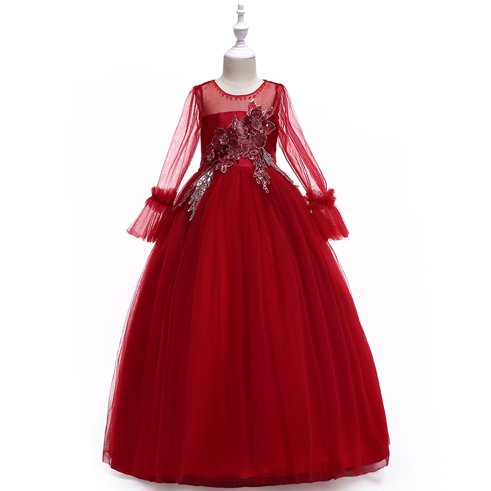 For 6 8 10 12 14 16 Years Full Sleeves Xmas Wedding Long Dresses Bling Sequins Tulle Lace Ball Gowns Vestidos Fantasia CustomesFor 6 8 10 12 14 16 Years Full Sleeves Xmas Wedding Long Dresses Bling Sequins Tulle Lace Ball Gowns Vestidos Fantasia Customes