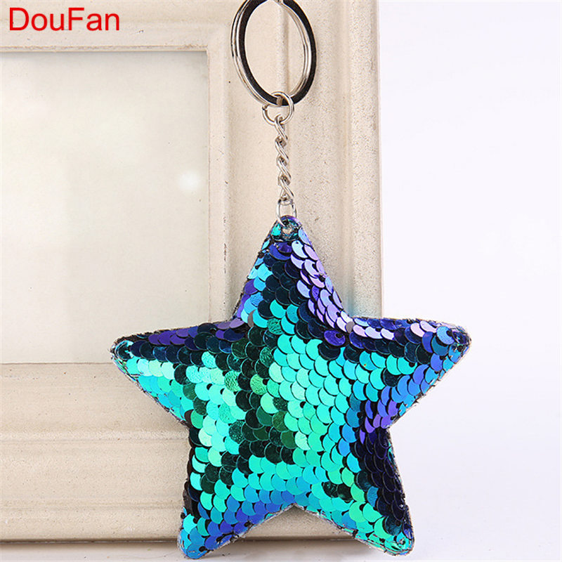 DouFan Cute Chaveiro Star Keychain Glitter Pompom Sequins Key Chain Gifts For Women Llaveros Mujer Car Bag Accessories Key Ring