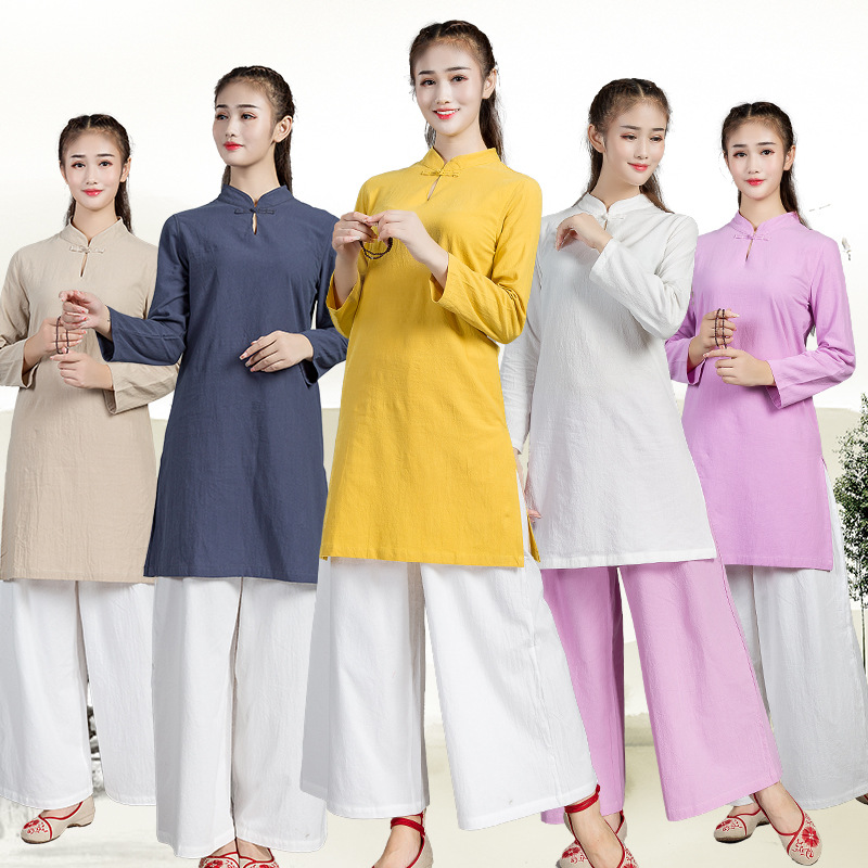 High Quality Cotton Linen Clothing Men Women Wudang Tai Chi Practice Martial Art Uniform Taoist Kung Fu Performance Clothes Set