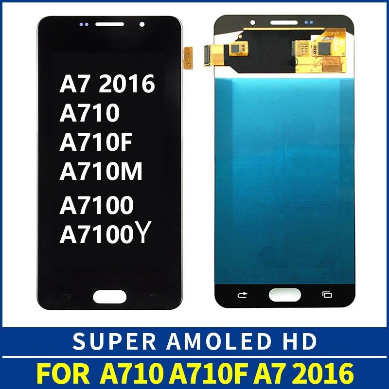 OLED pour Samsung Galaxy A7 2016 A710 LCD écran tactile numériseur assemblée remplacement SM-A710F A710F LCD