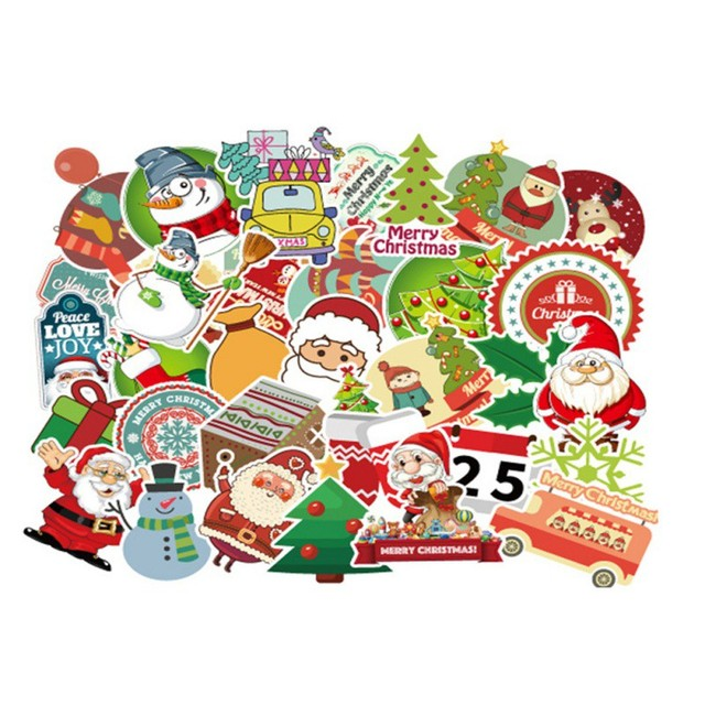 25 Christmas Theme Stickers Suitcase Computer refrigerator Skateboard Car Motorcycle Waterproof sticker Festive Party Supplies