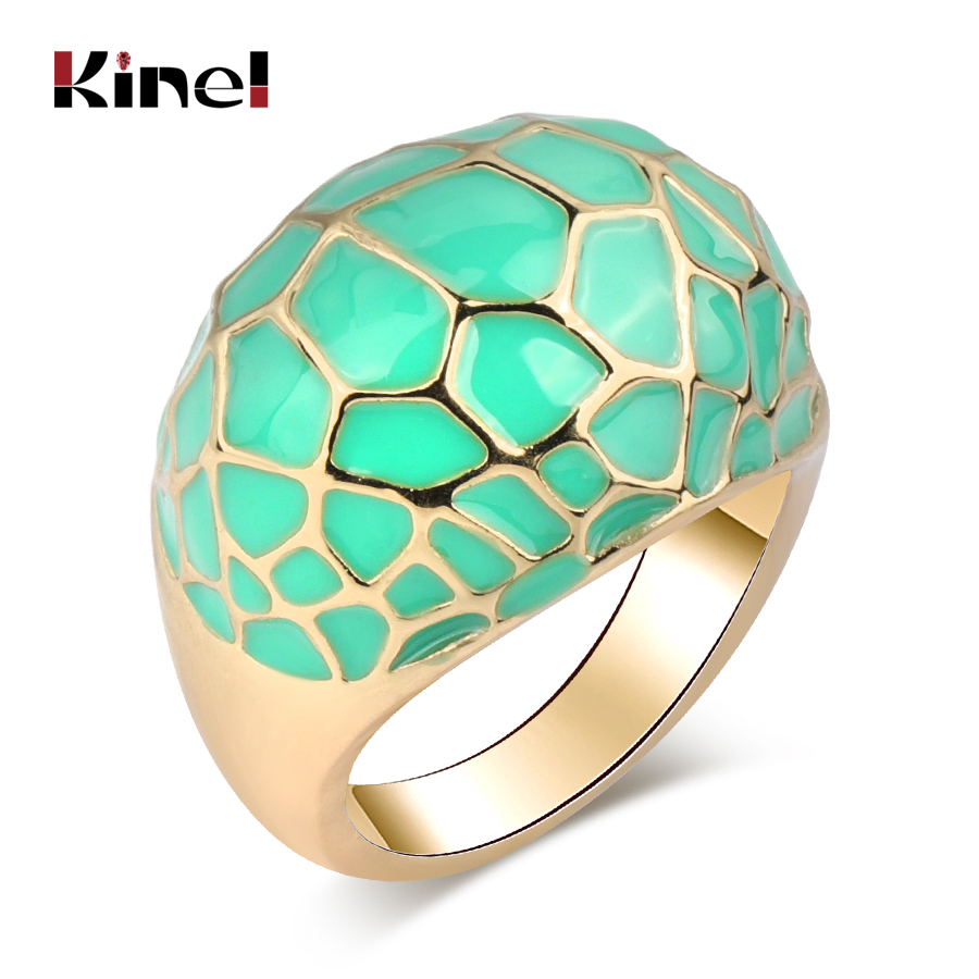 Ltaly Vintage Jewelry For Women Multi-slice Geometry Color Gold Punk Enamel Rings Engagement Wedding Gift