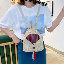 Straw bag new women's woven backpack college rattan bag student bag girl summer beach bag travel mini backpack