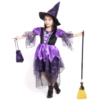 New Arrival Girls Purple Spider Witch Cosplay Costume Playful Fancy Party Kids Lovely Suit Halloween Birthday