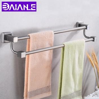Double Bathroom Towel Holder Stainless Steel Towel Hanger Rack Wall Mounted Corner Clothes Rail Towel Bar Restroom Accessories