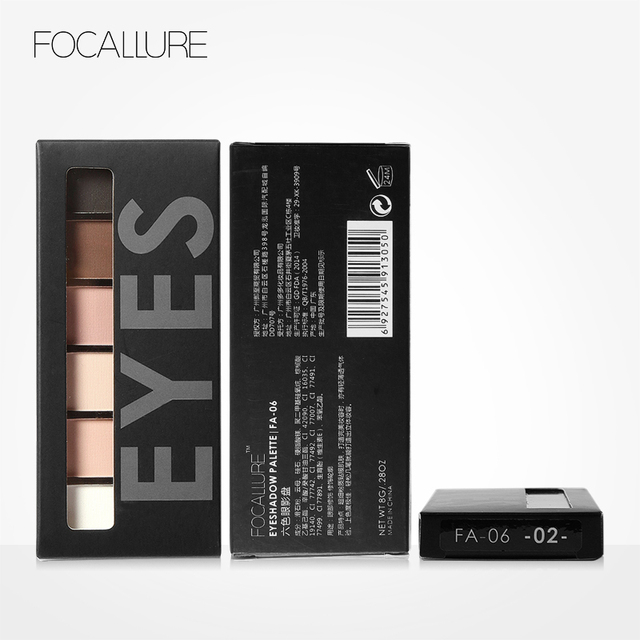 FOCALLURE 6 Colors Eye Shadow Makeup Shimmer Matte Eyeshadow Earth Color Eyeshadow Palette Cosmetic Makeup Set Nude Eye Shadow 5