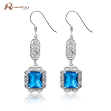 Women Jewelry 925 Sterling Silver Earrings Vintage Blue Red CZ Rhinestone Jewelry Elegant Charm Lady Evening Party Dress Earring(China)