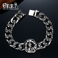 2017 New Cool Punk More Skull 316 Stainless Steel Bracelet For Man S High Quality Jewelry