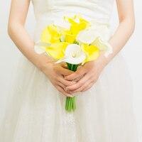 Calla הצהוב זר כלה רומנטי כפרי הגעה חדשה מערבבים צבע משי פרחים מלאכותיים עבור חתונה צילום קישוט הבית
