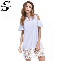 SunnyYeah Shoulder Summer Dress Women 2017 New White Lace Patchwork Striped Beach Casual O Neck Shirt