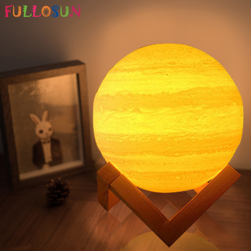 3D Light Print Jupiter Lamp Earth Lamp Multi Color Moon Lamp Rechargeable Touch USB LED Night Light Home Decor Creative Gift magnetic floating levitation 3d print moon lamp led night light 2 color auto change moon light home decor creative birthday gift